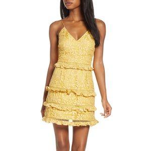KEEPSAKE the Label Yellow Lace tiered mini dress